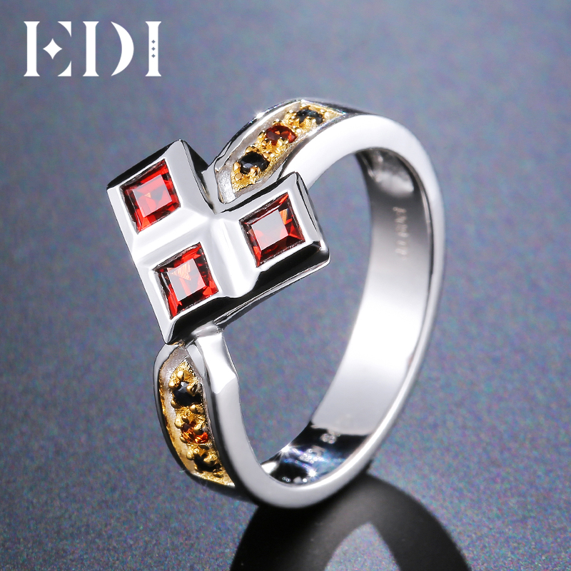 EDI Triangle Arrow Natural Garnet Black Sapphire 100% Sterling Silver 925 Jewelry Ring For Women chic solid color arrow triangle hairpin for women