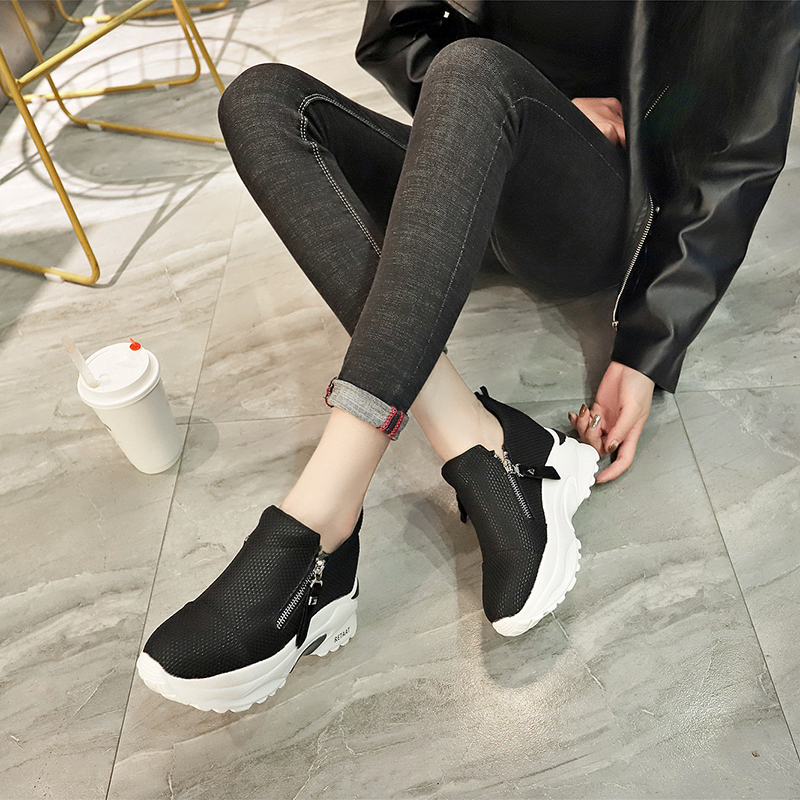 Lucyever 2019 New Spring Ladeis Casual Sneakers Women Height Increasing Vulcanized Shoes Woman Footwear Leisure Ankle Boots 5
