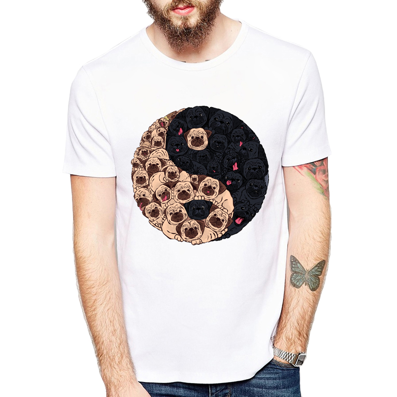 New 2019 Fashion Summer Pug Dogs T Shirt Men Tops Ying Yang Pug Tshirt Printed Casual Clothing T-shirt Tees Cute Design