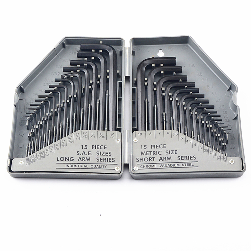 Free Shipping 30pcs Industrial Grade Metric Inch Allen Hex Key Wrench Set L Type Black Allen Key Spanner Flat Or Ball Head