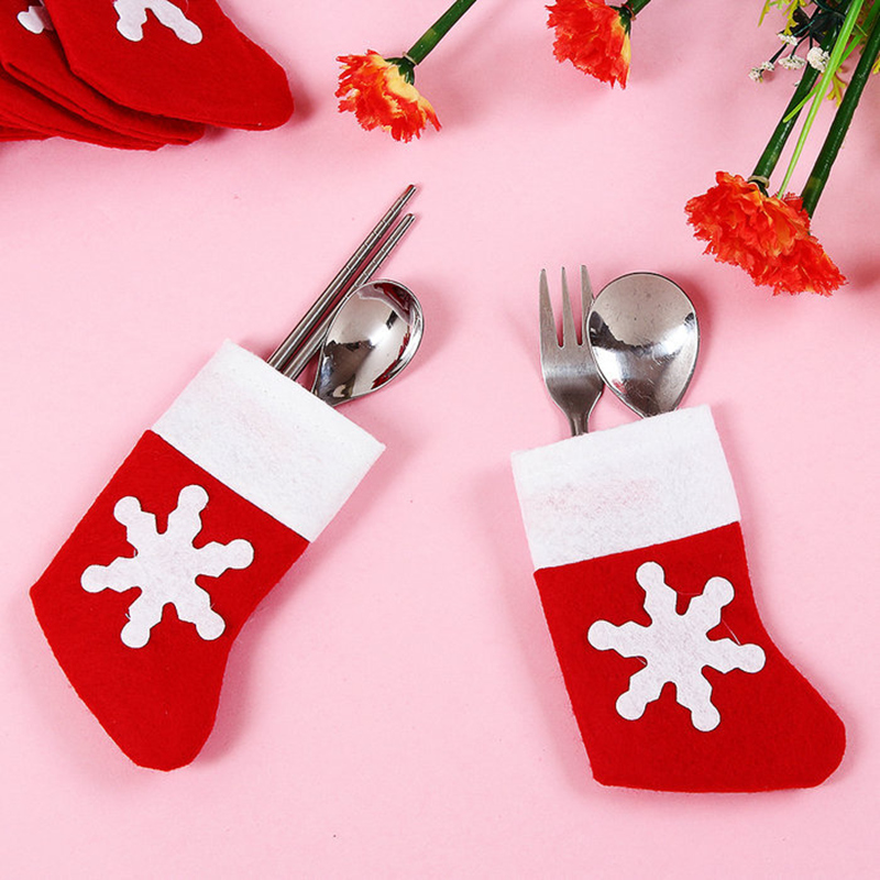 6 PCS/Set Santa Sliverware Bag Christmas Decoration Dining Table Knife Fork Restaurant Enfeites Tableware Bags
