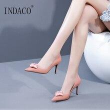 Heels Women Shoes Pink Black Flower Pumps High Heel 7.5cm Leather
