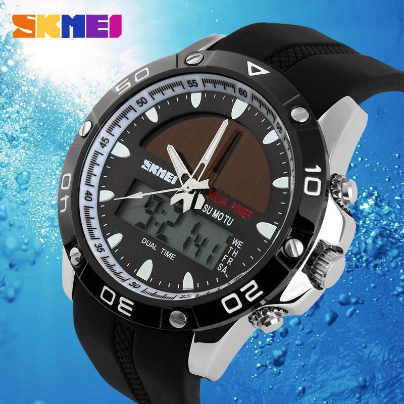 Nova energia solar relógio de pulso dos homens esportes digitais led relógios de exibição dupla solar relógio masculino esportes militar wriswatch relojes
