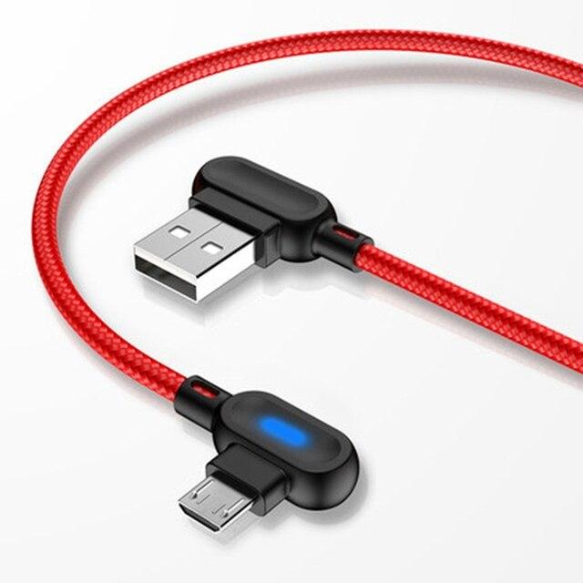 Cable Micro USB de 90 grados, Cable de carga rápida de 1M y 2M para Samsung, Xiaomi, Huawei, HTC, LG, Android