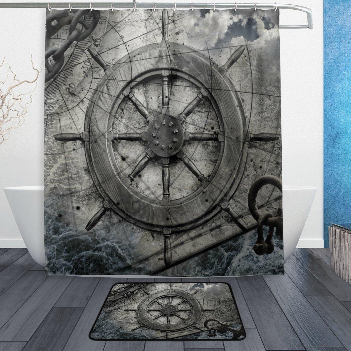 Ancient Navigation Map Shower Curtain Liner Bathroom Mat Polyester Fabric Hooks