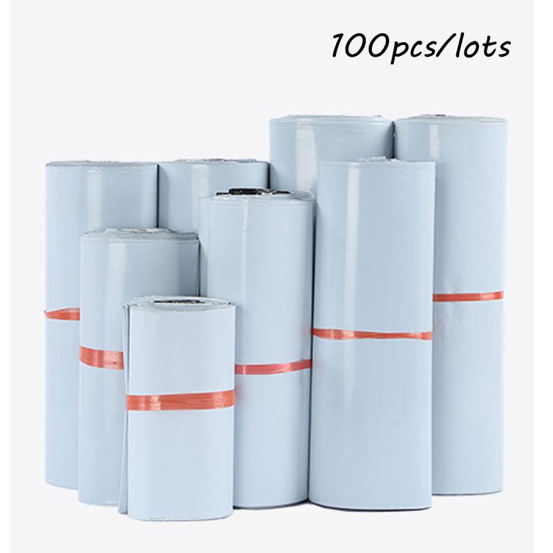 Sacs de courrier de petite taille 100 pièces/lot   Sacs de stockage adhésifs blancs auto-scellants, enveloppe en plastique Poly, sacs de livraison postale