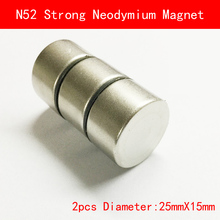 2pcs N52 diameter 25x15mm Round NdFeB Neodymium Magnets 25*15mm N52 Super Powerful Strong magnet  Rare Earth 1pc strong neodymium magnet rare earth round fridge microphone magnets mayitr n52 large discs ndfeb magnetic materials 25 5mm