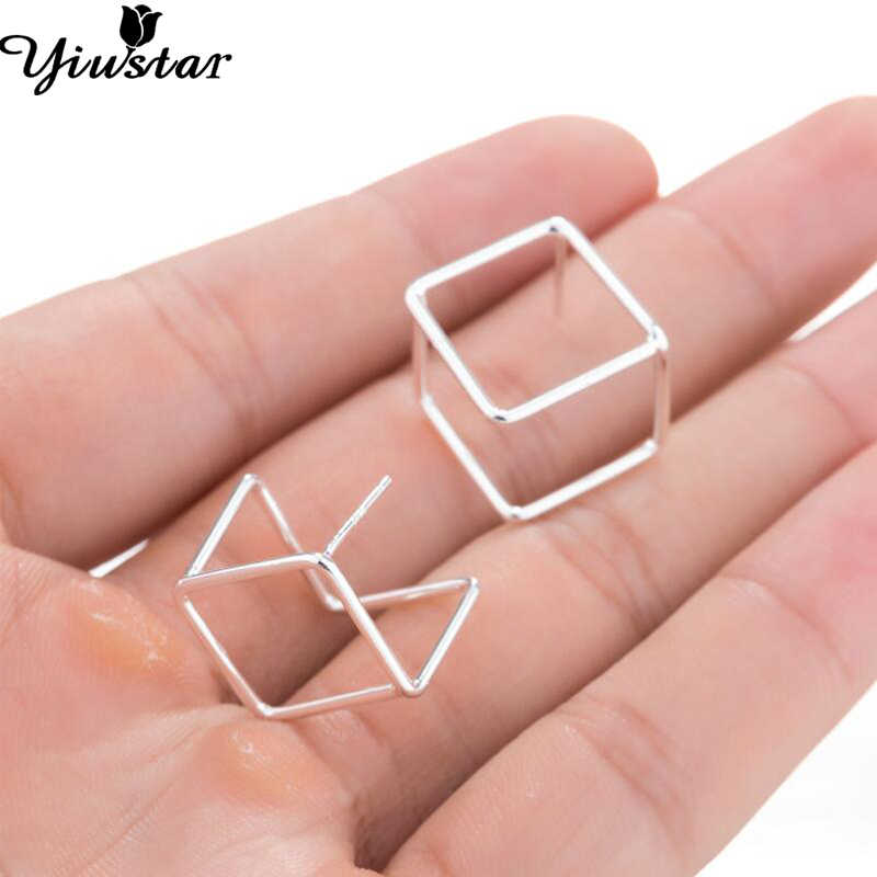 Yiustar Women Earrings Square 3D Cube Stud Earrings Origami Metal Charming Geometric Earrings for Girls Minimalist Bijoux
