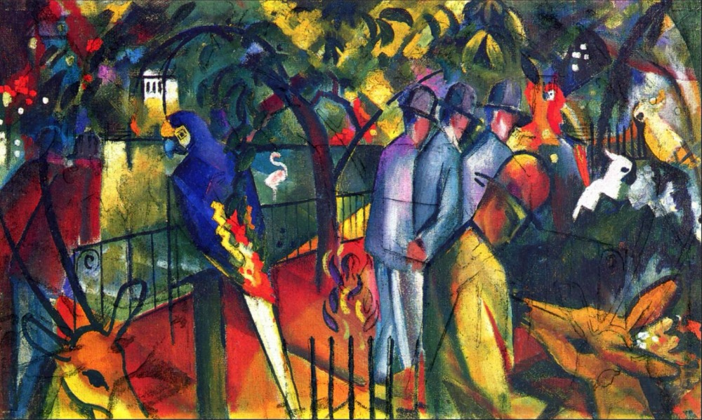 High quality Oil painting Canvas Reproductions Zoological Garden I (1912) By August Macke hand paintedHigh quality Oil painting Canvas Reproductions Zoological Garden I (1912) By August Macke hand painted