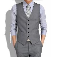 Nuevo traje ma3 jia3 gris hombres chaleco por encargo del novio esmoquin chaleco hombres de alta calidad formal trajes de negocios chaleco