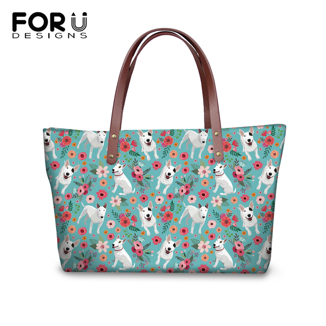 Forudesigns 2018 Fashion Tote Pu Leather Women Shoulder Bag Pit Bull Terrier Designer Bags Canada Handbags