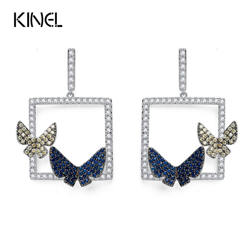 Luxury Fashion Drop Earrings For Women Micro Paved Blue Yellow CZ Crystal Double Butterfly Unique Vintage