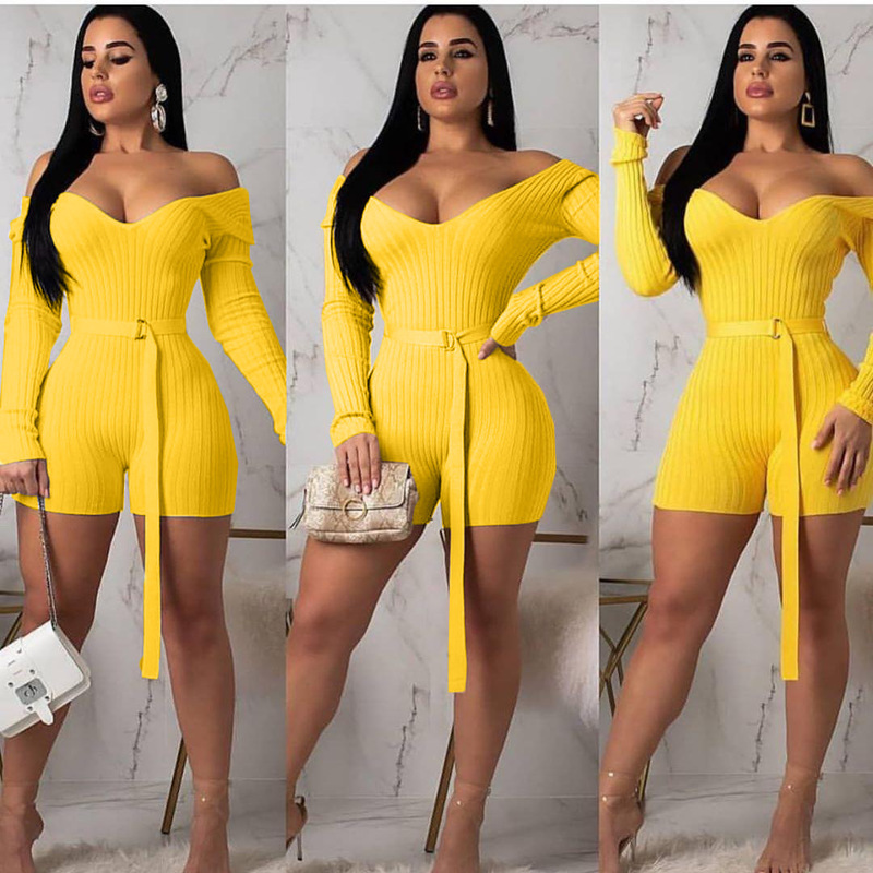 HAOOHU Sexy Bodycon Women Playsuit Festival Clothes Autumn Long Sleeve Belted Streetwear One Piece Outfits Club Party Jumpsuits