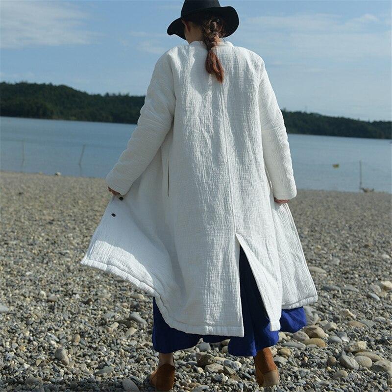 Femmes Nouveau D'hiver Coton Lâche blanc Épais Lin 2016 Haute Vintage Casual Manteaux Gris Qualité Manches Bouton Parkas À Manteau Longues SIwdWqWtT