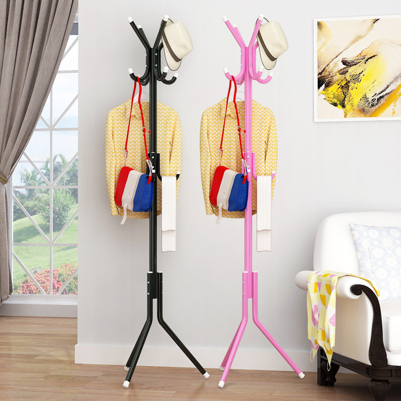 Household Coat Rack Bedroom Clothes Rack Floor Hanger Assembly Single Rod Hanger Hook Stand for Purse Handbag Clothes Scarf
