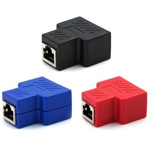Image 4 - Adaptador divisor RJ45, 1 a 2, enchufe Ethernet Dual, conexiones de Red, adaptador divisor para placa PCB, soldadura, Azul, Negro, Rojo