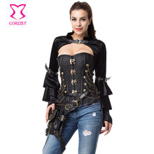 Black Flannel Stand Collar Long Butterfly Sleeve With Belt Sexy Corset Burlesque Costumes Steampunk Jacket Women Gothic Bolero
