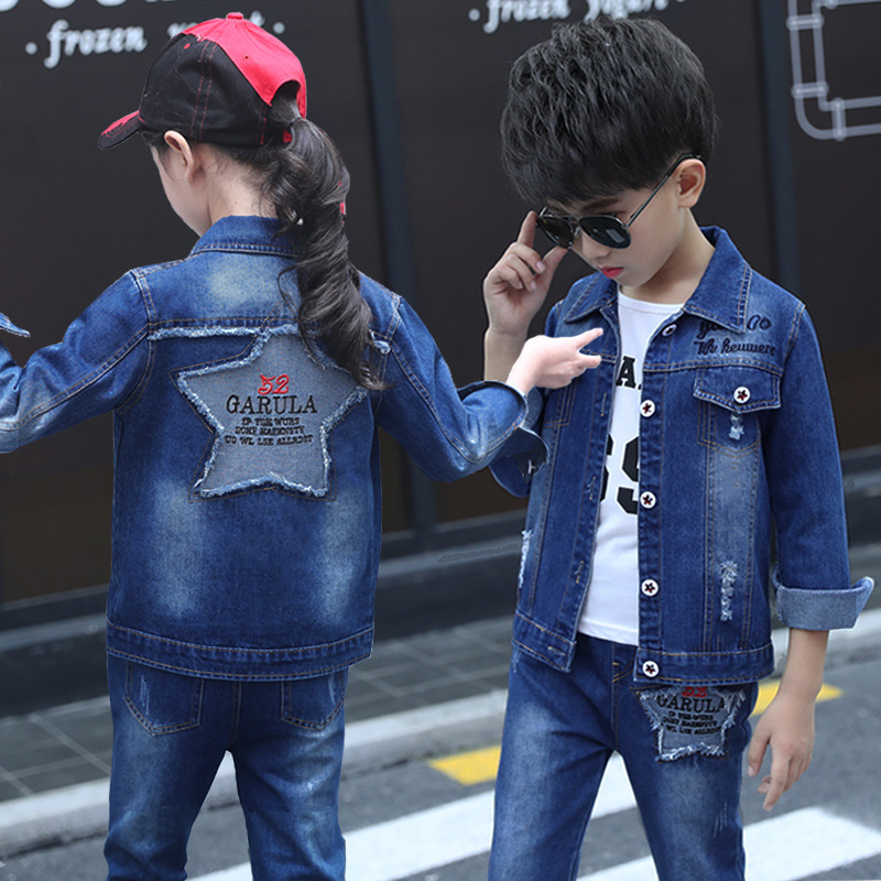 Teen Girls Clothing Set Autumn Casual Kids Girls Clothes Long Sleeve Denim Coat Trousers White T-shirt Boys Clothes Sets 3pcs 2017 high quality girls luxury sequin denim jacket pants clothing set kids clothes sets jeans coat trousers two piece set
