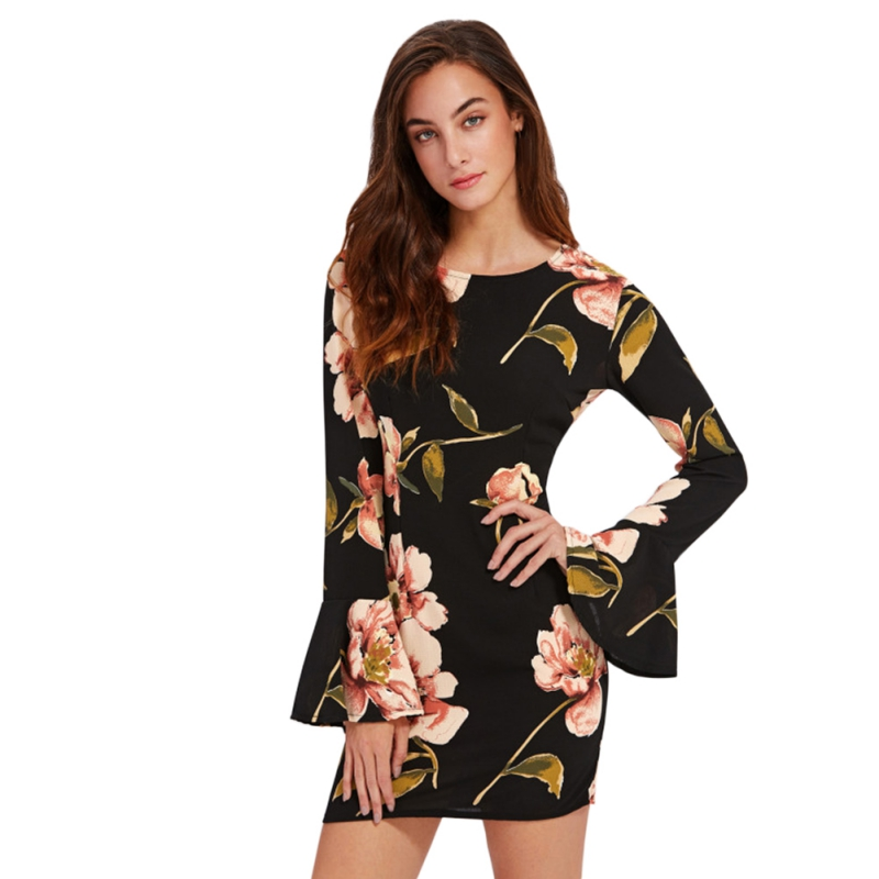 Women Flare Sleeve Surplice Wrap Floral Dress O Neck Long Sleeve Elegant Sheath Belted Mini Dress H6