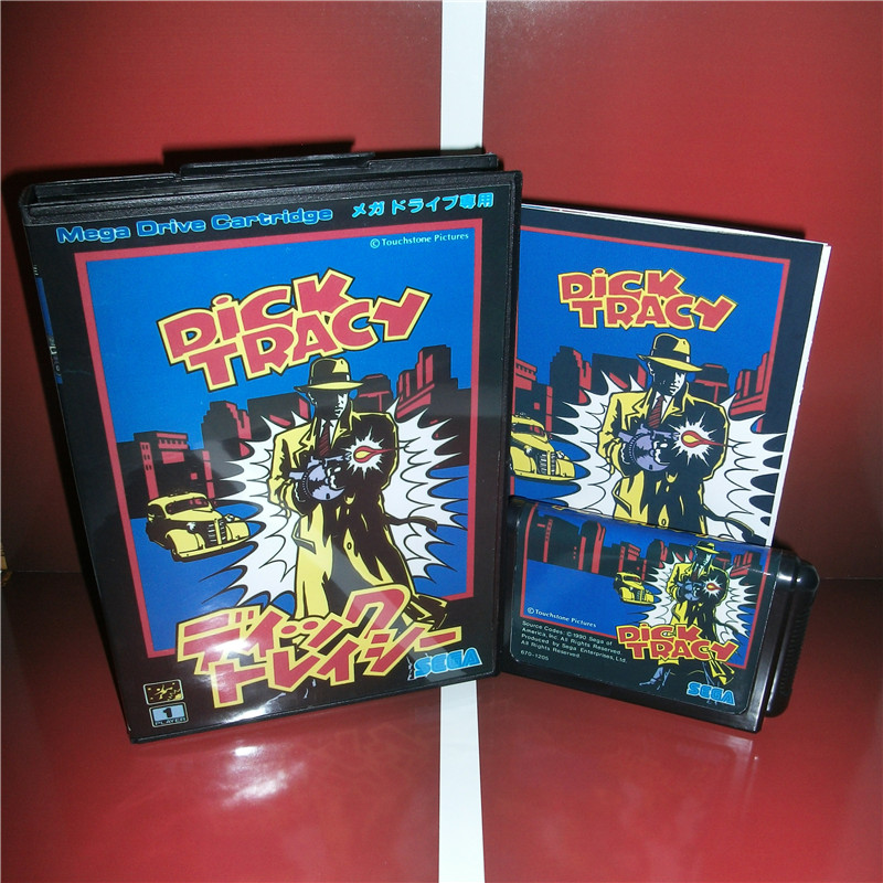 Dick Tracy Japan Cover with box and manual for Sega MegaDrive Genesis Video Game Console 16 bit MD card
