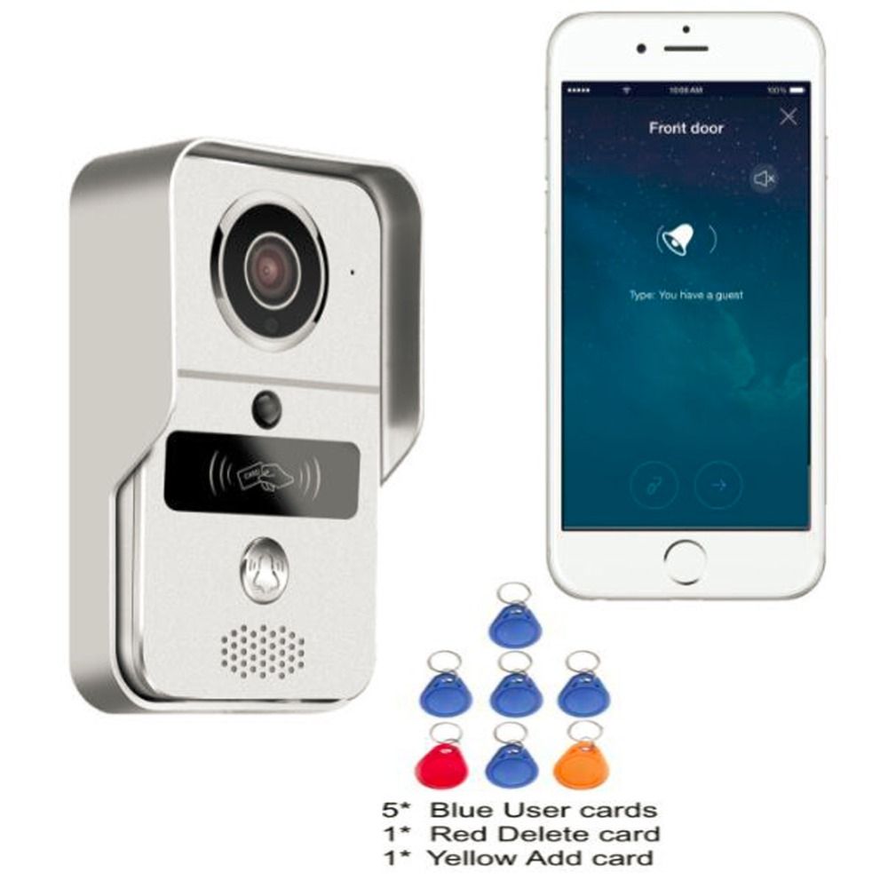 WiFi Video Door Phone Doorbell Home Security Door Wireless Intercom P2P with RFID Keyfobs,Dingdong bell Support iOS and Android 2015 free shipping wifi video door phone door bell intercom systems app can be run in android and ios devices