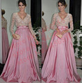 Best 2017 A-line V-neck Long Sleeves Floor Length Pink Satin Lace Long Evening Dresses Evening Gown Prom Dresses Prom Gown