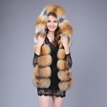 Luxury Real Red Fox Fur Full Pelt Vest Coat For Female Winter Nobel Double-Faced Fur Waistcoat Hooded Genuine Fur Gilets A050