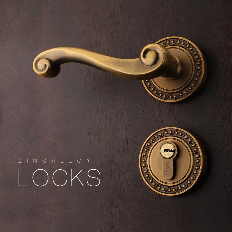 Serrure de porte en bois d'intérieur de Style européen serrure magnétique antivol serrure de chambre à coucher serrure de sécurité de poignée de porte universelle