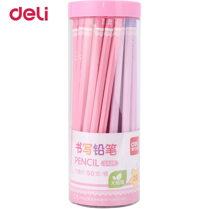 Deli 50 Pcs/Set Standard Pencil 2017 new set of pencils 2B Office & School supplies cute simple design pencils for drawing