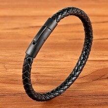 XQNI New Classic Style Men Leather Bracelet Simple Black Sta