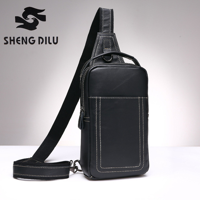First Layer Men Genuine Leather Crossbody Bag For Designer Messenger Bags S Chest Pack