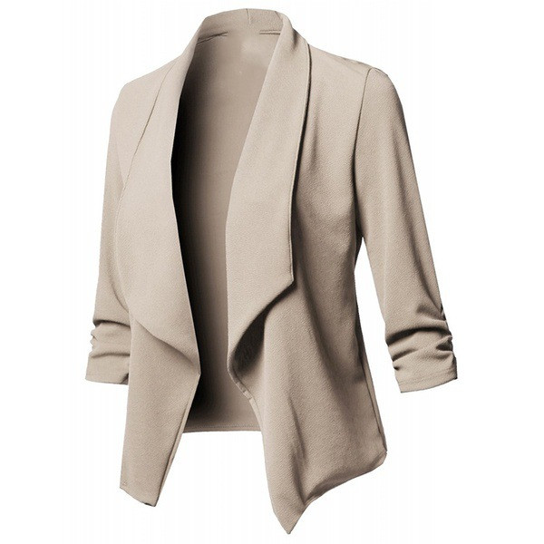 Mr.Nut10 Color Eight Yard Long Sleeve Folds Solid Color Small Suit Ladies Self-Cultivation  Office Lady  V-Neck  Jacket