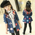 2017 Autumn Kids Clothes Girl Demin Jacket Flower Chaqueta Coat Jeans Clothing Outerwear Cowboys 3-13 Years Old Girls Clothes