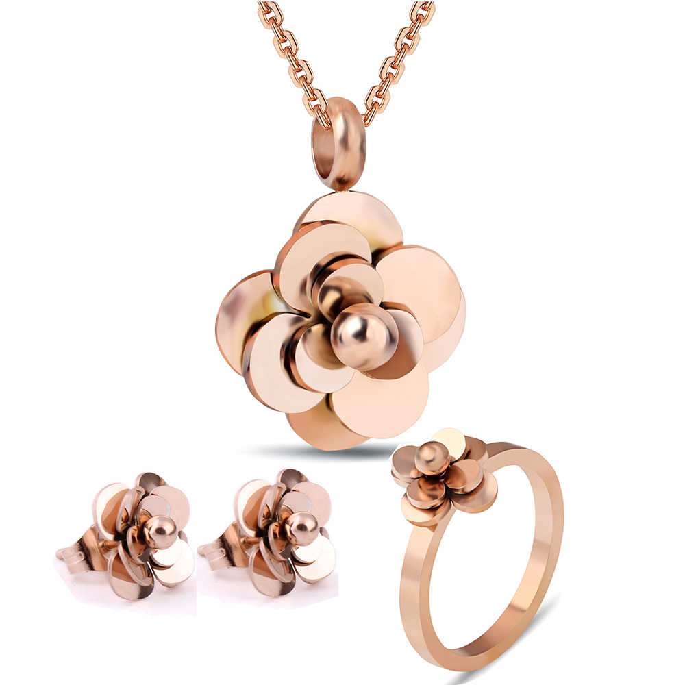 Mode Edelstahl Blume Schmuck-Set Mit Halskette/Ring/Ohrring Schmuck Set Für Frauen Bijoux