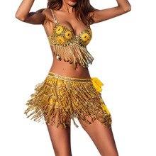 KANCOOLD модные женские юбки befree vestidos с блестками костюм для танца живота с кисточками Клубная мини-юбка FJA28