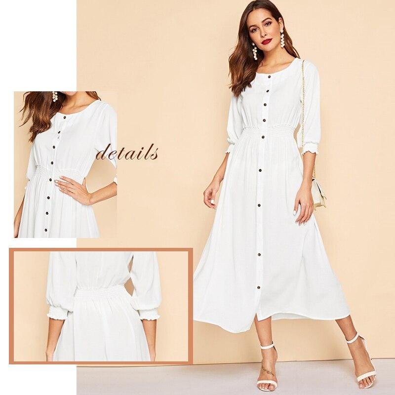 Sheinside Elegant Button Up Shirt Dress Women 2019 Spring Half Sleeve A Line Dresses Ladies Solid Elastic Cuff Trim Dress