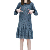 WAEOLSA Winter Woman Lace Dress Blue Black Thicken Robe Femme Fleece Lining Dresses Women Chic Classy