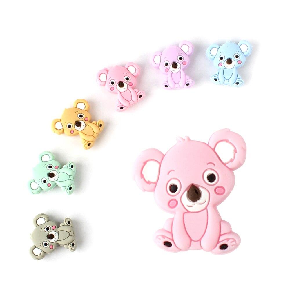 6pcs Cute Silicone Cartoon Koala Beads Rodent Silicone Teething Beads Accessories Silicone Rodent DIY Baby Necklace Pendant