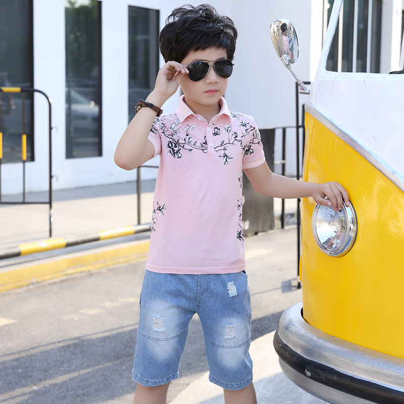 Sports Suit For Boy Teenagers 5 6 7 8 9 10 11 12 13 14 15 Years Print Short Sleeve Shirt + Ripped Shorts 2pcs Kids Clothes Set