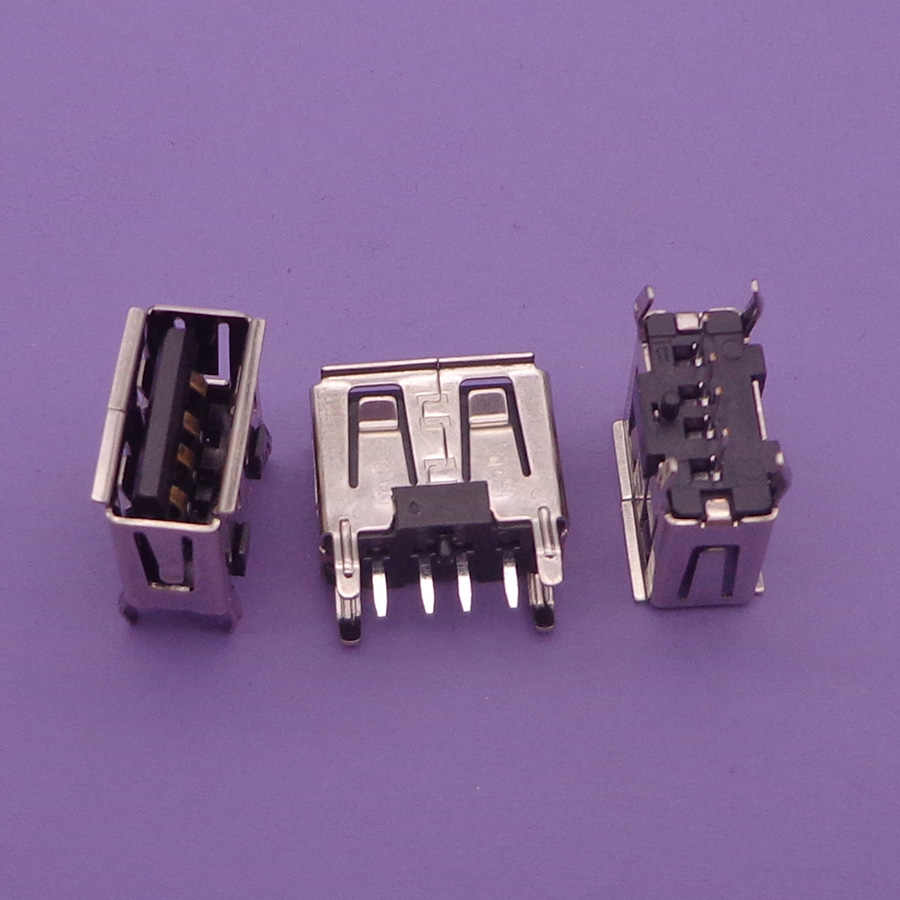 10 יח'\חבילה סוג שטוח זווית 180 תואר נקבה USB PCB מחבר שקע USB שקע תקע (שחור)