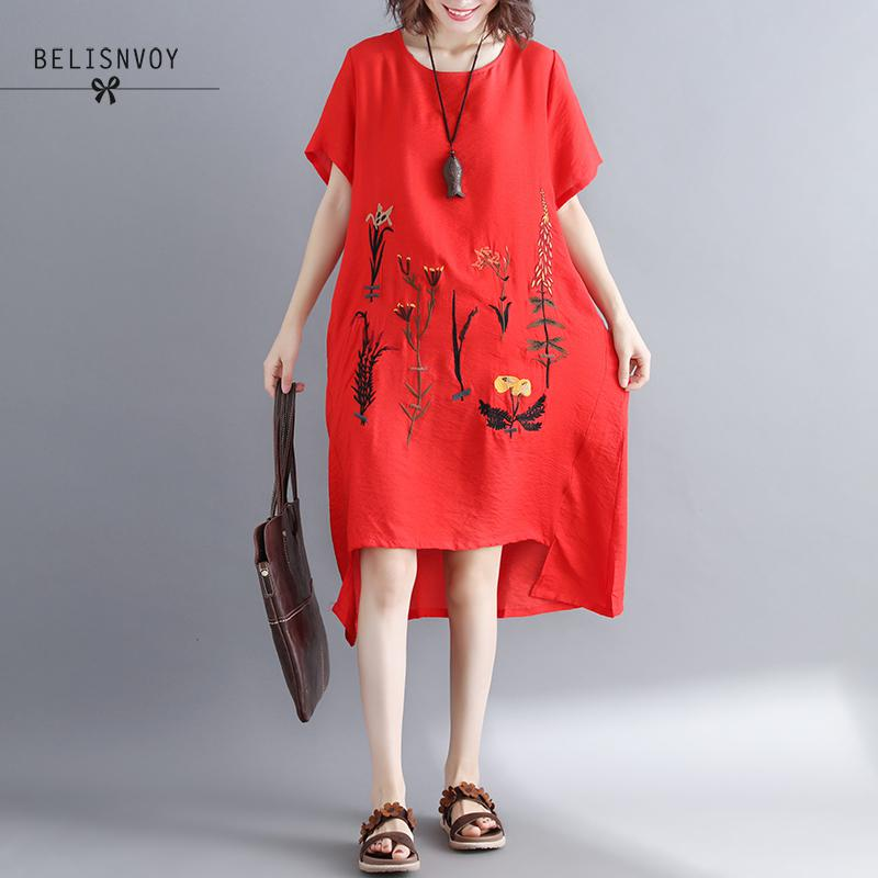 New Arrival Female Dress Cotton Linen Vintage Floral Embroidery Clothes Women Casual Loose Summer Dress Vestidos Femininos