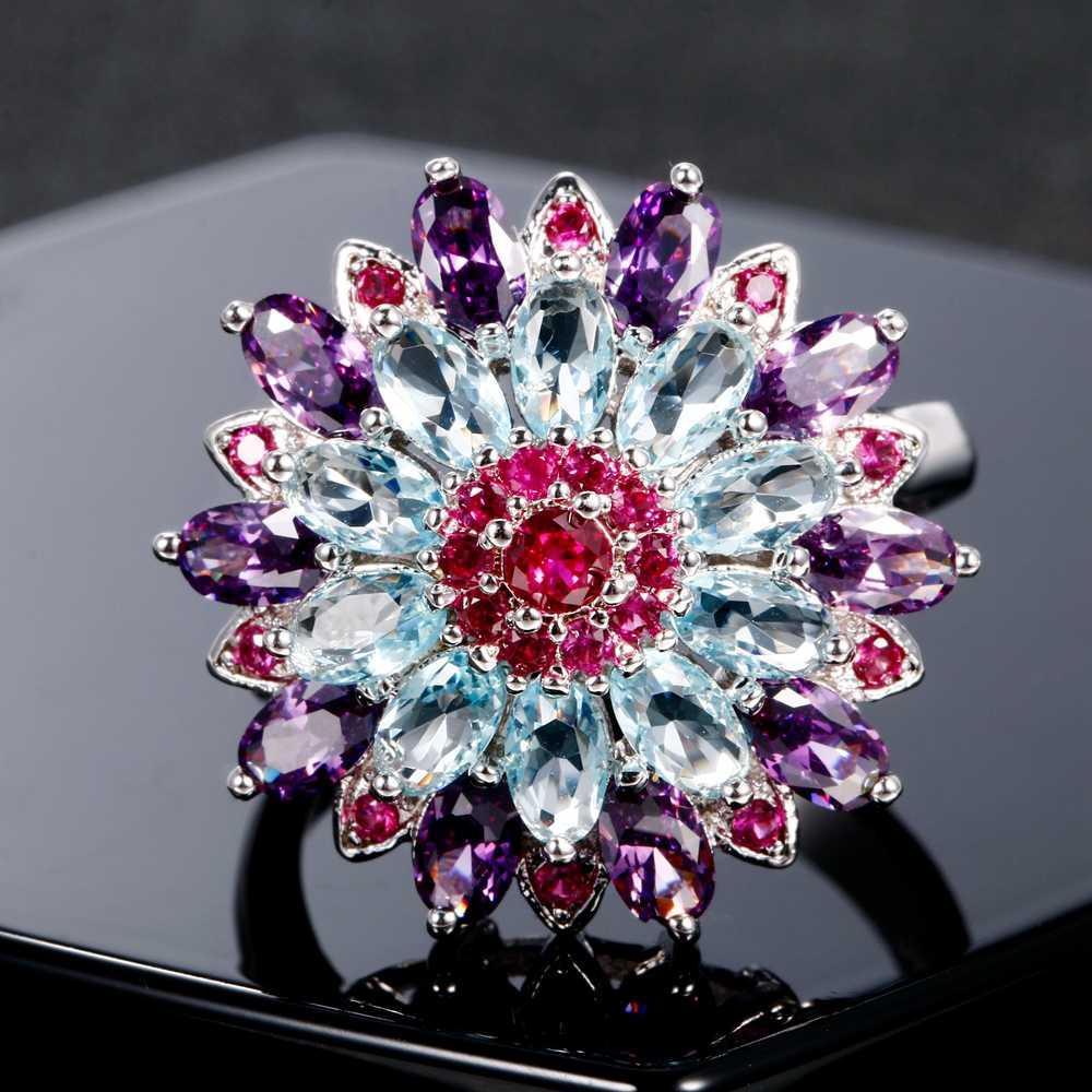 Nasiya Multicolor อัญมณีดอกไม้งานแต่งงานแหวนเงิน 925 แหวนเครื่องประดับสำหรับผู้หญิงคุณภาพขายส่งเครื่องประดับ