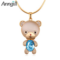 2018 New Crystal From Swarovski Cute Bear Big Long Necklace Gold Color Chain Charmes Opal Stone Ladies Necklaces Boho Jewelry