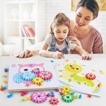 Образования детей игры развивают воображение Пазлы Дети Шестерни гриб игра-мозаика 3D игра-головоломка для childrren