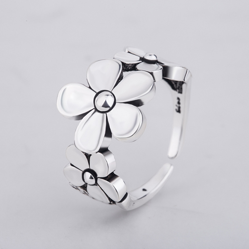925 Sterling Silver Vintage Design Flower Rings For Women Wedding Birthday Creative Fashion Jewelry jz466