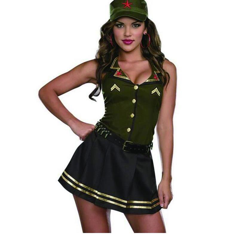 2018 Army Green Adult Halloween <font><b>Christmas</b></font> Halloween <font><b>Costumes</b></font> For Women <font><b>Sexy</b></font> <font><b>Costume</b></font> Uniform <font><b>Outfit</b></font> Girl Cosplay Fancy Dresses image