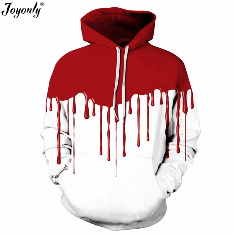 Joyonly 2018 Halloween Harajuku Style Hoodies Red Splash Blood Printing White Color Hooded Sweatshirts Women Men Pullover Tops