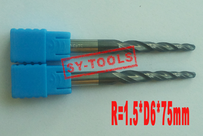 2PCS R1.5 * D6 * 30.5 * 75L * 2F HRC55タングステン超硬コーティングテーパーボールノーズエンドミルテーパーおよびコーンエンドミル
