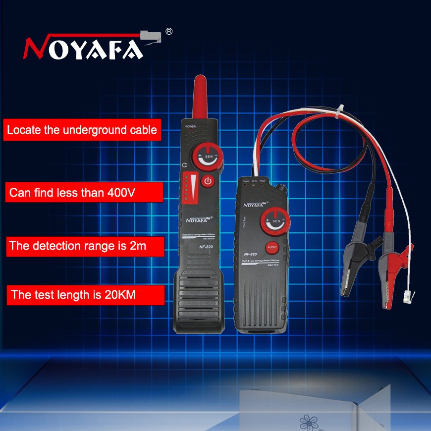 Noaya AC400V High & Low Voltage Cable tester Underground Cable Finder Anti-Interference Wire Tracker RJ45 RJ11 BNC Tester NF-820