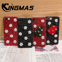 Christmas hat snowflake phone for iphone 6 6S 7 8 PLUS Phone Case Soft shockproof case for iphone X XS XR MAX Glitter Back cover